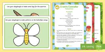 EYFS Playdough Recipe and Mat Pack - The Crunching Munching Caterpillar, Sheridan Cain, life cycle of a butterfly, minibeasts,