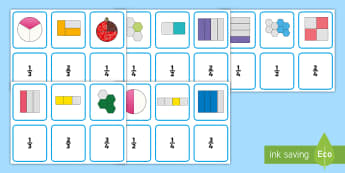 Halves, Quarters and Thirds Matching Cards  - Halves, Quarters and Thirds Matching Cards - halves, quarters, matching cards, matching, cards, matc