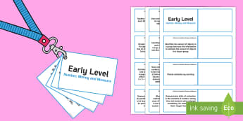 CfE Early Level Number, Money and Measure Lanyard-Sized Benchmarks - Number, Money and Measure Benchmarks, assessment,Scottish