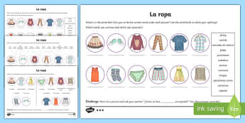 Spanish Clothes Activity Sheet