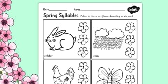 Spring Syllables Worksheet 2 - spring, syllables, season, weather