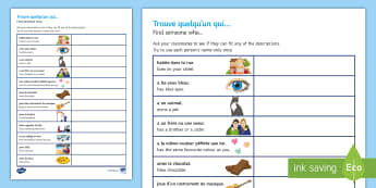 Transition MFL French Find Someone Who Activity Sheet - Y6, ice breaker, primary school, personal identification, games,French