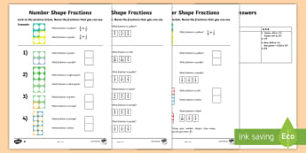 Name the Fraction Activity Sheets - KS1 Maths, numicon, number shapes, fraction, fractions, share, Worksheets, divide, equal, equally, h