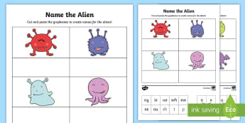 Phase 5 Phonics Name the Alien Cut and Stick Activity - phonics screening, phase 5, split digraph, word, make, create, build, screening check, Y1, year 1, y