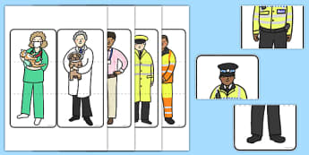 People Who Help Us Puzzle Game - People who help us, Game, Puzzle, Misfits, Card Game, Role Play, Doctor, Nurse, Teacher, Police, Fire fighter, Paramedic, Builder, Caretaker, Lollipop, Traffic Warden, Lunchtime supervisor, lunch time assistant, midda