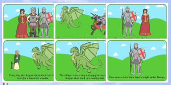 St George And The Dragon Story Sequencing - St George, princess, maiden, dragon, Margaret Hodges, sequencing, story sequencing, story resources, A4, cards, king, story book, book, book resources, story