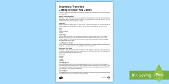 'Getting to Know You' Games Teaching Ideas - Secondary Transition Resources, drama, warm up, transition, secondary, teamwork