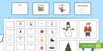 Winterbilder mit passenden Satzbildungskarten Kartenspiel - Winter mit passenden Satzbildungskarten Kartenspiel, Winter Kartenspiel, Satzbildung Kartenspiel, Sa