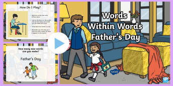 KS1 Father's Day Words Within Words PowerPoint - love, card, gifts, Kindness, Family,Breakfast, Appreciation, Dad