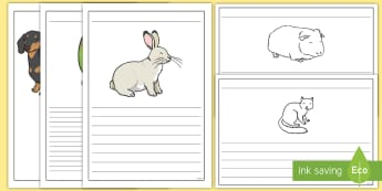 Pet Themed Writing Frames - Pets, cat, dogs, rabbits, budgie, guinea pig, hamster, snake,
