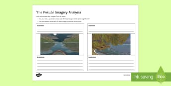 Imagery Analysis Activity Sheet to Support Teaching on 'The Prelude' by William Wordsworth - GCSE Poetry, boat stealing, stealing the boat, boating, The Prelude, William Wordsworth, The Romanti