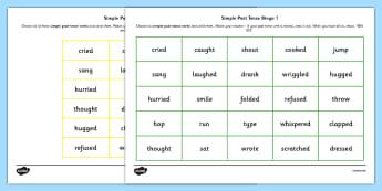 Simple Past Tense Bingo - past, tense, bingo, game, simple, activity
