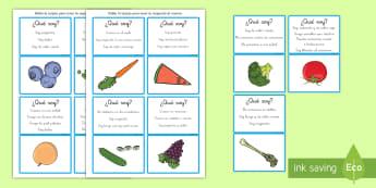 Juego: ¿Qué soy? - Frutas y verduras - inferencias, NEE, autismo, qué soy, juego, lectura, comprensión, inferir, información, frutas, ve