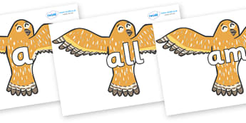Foundation Stage 2 Keywords on Owls - FS2, CLL, keywords, Communication language and literacy,  Display, Key words, high frequency words, foundation stage literacy, DfES Letters and Sounds, Letters and Sounds, spelling