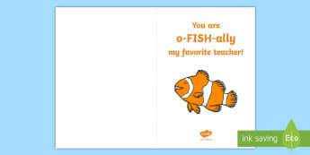 You Are O-FISH-ally My Favorite Teacher! Gift Card Template - Teacher Appreciation Week, Teacher Appreciation, fish, offically, favorite, best, teacher, teachers,