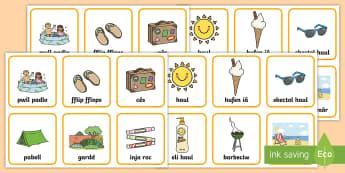 Gem Cyfatebu Lluniau'r Haf - Yr Haf, summer, colouring sheets, rhifau, traeth, beach, display lettering, posteri, ysgrifennu, sum