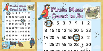 Pirate Themed Counting in 5s Maze Worksheet - pirates, count