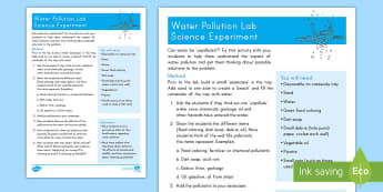 Water Pollution Lab Activity - Earth Day, water, pollution, reduce, reuse, recycle, lab, experiment, conservation