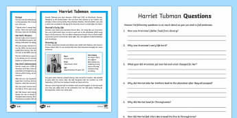 Harriet Tubman Differentiated Reading Comprehension Activity - English, reading, comprehension ,Australia