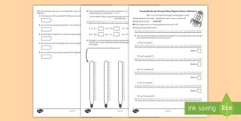 Count Backwards Through 0 Using Negative Numbers Worksheet - numbers