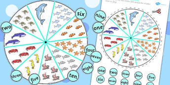 Number and Word Matching Pegs Under the Sea Themed - under, sea