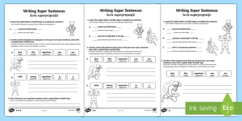 Writing Super Sentences Differentiated Activity Sheets English/Romanian - Writing Super Sentences Differentiated Activity Sheets - GPS, grammar, punctuation, capital letters,
