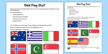 Odd Flag Out Quadrilateral Recognition Activity Sheet - flag, nepal, quadrilateral, worksheet