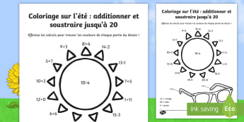 Coloriage et calcul : additionner et soustraire jusqu'à 20 - L'été - additionner et soustraire jusqu'à 20, coloriage et calcul, été, additions, couleurs, soustractio