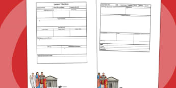 Roman Themed Editable Individual Lesson Plan Template - plans