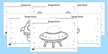 Alien Positional Language Worksheets Gaeilge - gaeilge, worksheets, worksheet, work sheet, positional language, language, language worksheets, positional worksheets, positions, positions worksheets, sheets, activity, writing frame, filling in, writin