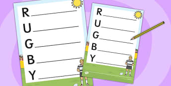 Rugby Acrostic Poem Template - rugby, acrostic poem, template, poem