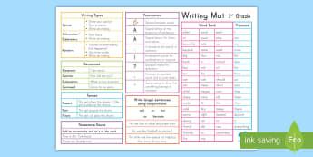 1st Grade Writing Mat - writing mat, usa, writing aid, prompt,