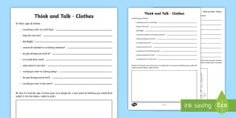 Think and Talk Clothes Activity Sheet - Oral Language Activity Sheets,talk and discussion,listening skills,talk about the picture,clothes, c