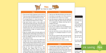 Pets Fact Sheet for Adults - EYFS, Early Years, KS1, Science, Understanding the World, exploration, discovery, finding out, exploration, facts, information, puppies, kittens, dogs, cats, guinea pigs, rabbits, chickens, fish, animal welfare, taking ca