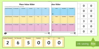 Horizontal Maths Place Value Slider  Activity Sheet - Maths Place Value Sliders - place value, place value slider, numeracy place values, place values, nu
