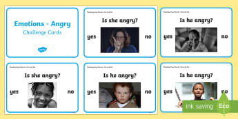 NI PDMU Theme 2: Feelings and Emotions (Foundation stage) Emotion: Anger Challenge Cards - Social skills, OT, Autism, Key words, Yes, no, Language and Literacy, Literacy table