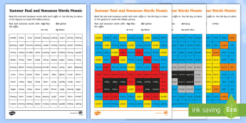 Summer Phase 6 Phonics Mosaic Activity Sheets - Worksheets, suffix, word ending, Read, Decode, Blend,  Solve, Digraph