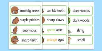 The Gruffalo Description Words Display - gruffalo, description, word