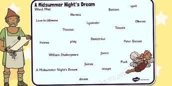 A Midsummer Nights Dream Word Mat - shakespeare, word mat, mat