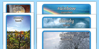 Weather Display Photos English/Romanian - Weather display photos, Display Posters, Weather, A4, display, posters, rain, wind, sun, snow, thund