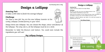 Design a Lollipop Activity Sheet - Amazing Fact Of The Day, activity sheets, powerpoint, starter, worksheet, morning activity, June, KS