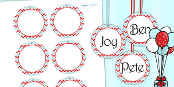 Zig Zag Birthday Party Name Tags Red And Blue - birthday, party
