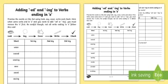 Year 2 Spelling Practice Adding -ing and -ed to Verbs Ending in 'e' Homework Activity Sheet - ks1, English, year 2, practice, home learning, home work, homework, practise, SPaG, spellings, strat