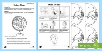 Make a Globe Activity Sheet - Amazing Fact Of The Day, activity sheets, powerpoint, starter, morning activity, February, globe, ma