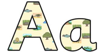 Habitats Small Lowercase Display Lettering - habitats, habitats display lettering, habitats display letters, habitats a-z lettering, habitats alphabet, ks2