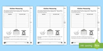 Year 2 Maths Kitchen Measuring Homework Activity Sheet - year 2, maths, homework, measure, practical activities, baking, ingredients, scales, reading scales,