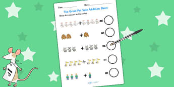 Up to 10 Addition Sheet to Support Teaching on The Great Pet Sale - pets, animals, add