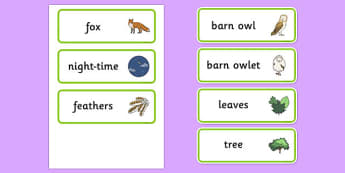 Owl Babies Word Cards - Owl Babies, Martin Waddell,  story, story book, story book resources, story sequencing, story resources, owl, family, PSHE, PSE, living things, Word cards, Word Card, flashcard, flashcards,