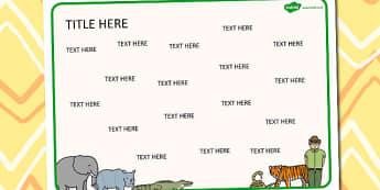 Zoo Themed Editable Word Mat - literacy, words, writing, mats
