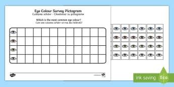 Eye Colour Survey Pictogram English/Romanian - Eye Colour Survey Pictogram - eye colour, pictogram, ourselves, all about me, survey, numeracy, grap